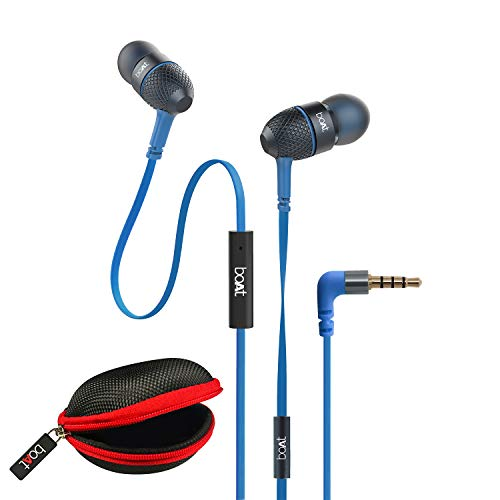 boAt BassHeads 225 in-Ear Wired Earphones with Super Extra Bass, Metallic Earbuds, Tangle-Free Cable, Gold Plated Angled Jack and Carry Case (Blue)