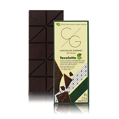 CG Tavoletta Di Cioccolato Gourmet, Cioccolato Fondente 55% Senza Zuccheri Aggiunti Con Stevia, 60g