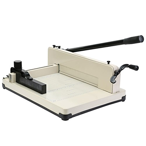 Mophorn Paper Cutter 12Inch A4 Industrial Heavy Duty Guillotine Trimmer 600 Sheets Paper Trimmer Metal Base Stack Cutter for Office Commercial Photocopy Printing Shop (A4, 12Inch)