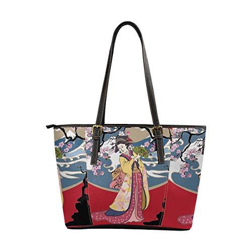 InterestPrint Womens Handbags Ladies Purses Shoulder Bags Tote Bag Japanese Art Geisha Girl Japanese Wave with Sakura