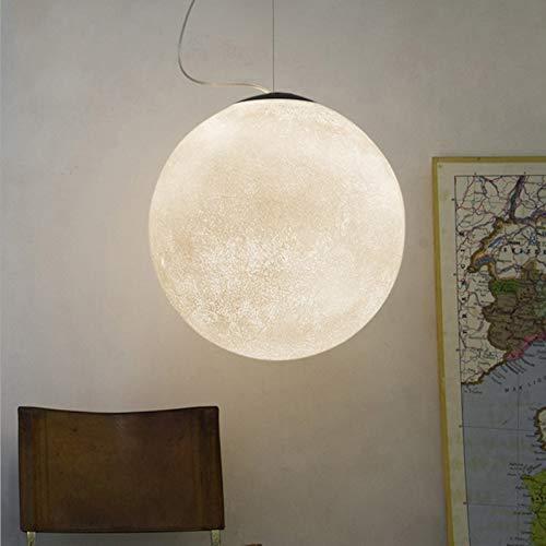 LYEJFF Mondanhänger Beleuchtung, 3D Kreative Pendelleuchte Acryl Lampenschirm Ball Hängelampe Leuchte White-25CM