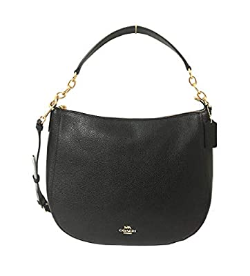 COACH Pebbled Leather Elle Hobo Black 1 One Size