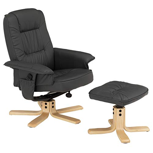 IDIMEX Relaxsessel mit Hocker Charly, Fernsehsessel, Drehsessel, Polstersessel, Sessel in grau