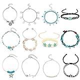 ZIXI 12PCS Charm Anklets for Women Girls Bracelets Beach Anklets Foot Jewelry Adjustable (B Style-12pcs)
