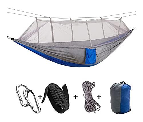 ZSP Amaca Fatto a Mano 2 Person Camping Garden Amaca con zanzariera Mobilio for l'esterno Bed Forza Paracadute Tessuto Sonno Altalena appesa Portable Swing (Color : Grigio)