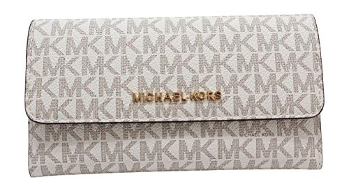 Michael Kors Jet Set Travel Large Trifold Leather Wallet (Vanilla)