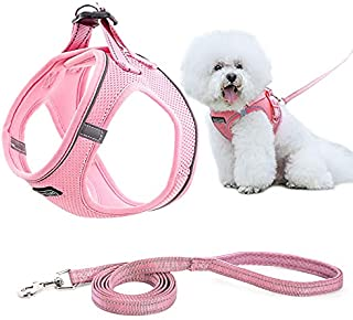 MIEMIE Step-in Air Dog Harness and Leash No Pull, Reflective and Breathable Pet Harness, Adjustable Soft Padded Vest Harne...