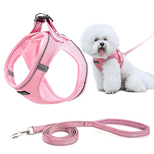 MIEMIE Dog Harness and Leash No Pull, Reflective and Breathable Pet Harness, Adjustable Soft Padded Vest Harness for Puppy Small Medium Dogs & Cats Pink S