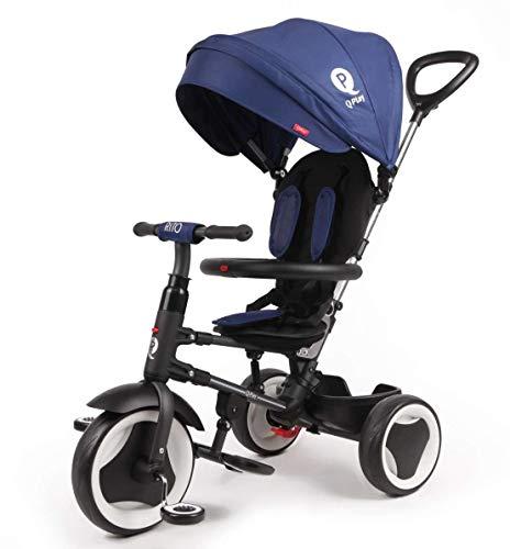 QPlay Kinder-Dreirad Rito Deluxe Blau UV-Dach, Freilauf, Lenkstange, klappbar