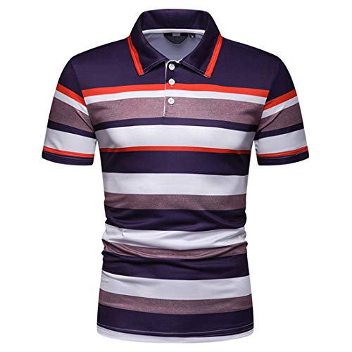 MENHG Men's Short Sleeve Stripe Slim Fit Polo Shirts Summer Lapel Fashion Casual Contrast Color Golf Blouse Men Button Lightweight Breathable Cotton Linen T-shirts Sports Fitness Tee Shirt Tank Tops