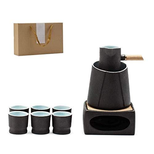 Exquisito Juego De Sake JaponéS De Esmalte Negro, 9 Piezas De Juego De Servicio De CeráMica De Esmalte Negro Tradicional Que Incluye 1 Lata, 1 Olla Aislada, 1 Estufa De Vela Y 6 Tazas, Con Caja De Reg