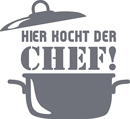 GrazDesign 620577 Muurtattoo Keuken Hier kookt de chef, Keukenstickers en tattoo voor uw muren, kasten en tegels, zelfklevende folie 54x50cm 071, grijs