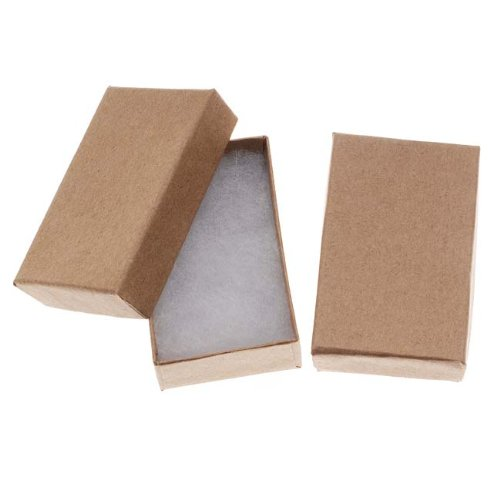 Beadaholique Kraft Brown Cardboard Jewelry Boxes (16 Pack), 2.5 x 1.5 x 1