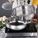 2 Tier Steamer Pot Stainless Steel - 28cm Steamer Pot w/Glass Lid Food Veg Cooker Pot Cooking Pan Steaming Pot Dim Sum Cookware Steamer For Kitcken Cooking Tool