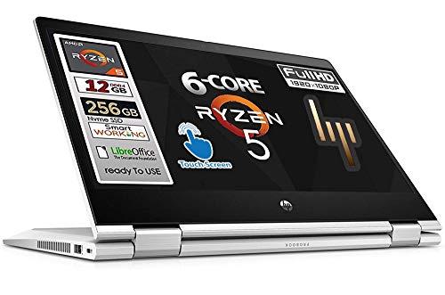 HP Notebook 2 in 1 ProBook, Monitor 13.3' Touch Screen Full HD AMD Ryzen 5 4500U 6 core, Ram 12 Gb, SSD 256 GB 3xUSB 3.0 Windows 10 pro 64 , Libre Office , pronto all'uso, Garanzia Italia
