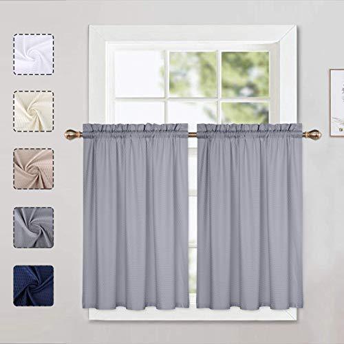 LinTimes Graue Vorhänge, Küchenvorhänge, Stufenvorhänge, halbes Fenster, Kurze Vorhänge für kleine Fenster mit Schlitz, 76,2 cm B x 91,4 cm L, Grau, 2 Stück