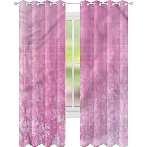 YUAZHOQI Cortinas oscurecedoras de habitación Rosa Pálido Fractal Forma Cuadrada Forma Personalizada Cortinas 52' x 72' (2 paneles)