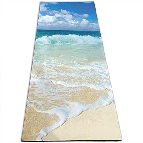 Serene - Esterilla de yoga con impresión costera de 5 mm de grosor, antideslizante, para todo tipo de yoga, pilates y ejercicios de suelo (180 x 61 x 0,5 cm)
