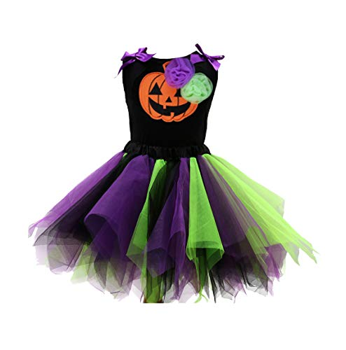 Sronjn Mädchen Ärmellos Kinder Kleid Halloween Karneval Kostüm festlich Partykleid Cosplay Kostüme Kleidung Festzug Stil 4 XL