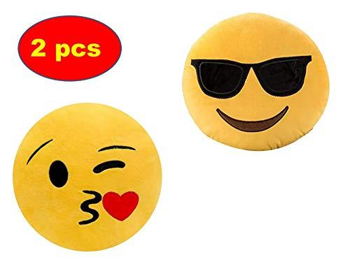ML Pack 2 x Cojín Emoji Sonrisa, Almohada Emoji Emoticon Relleno Suave Juguete de Peluche (Amarillo-Beso-Gafas)