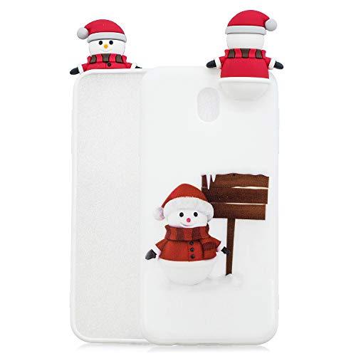 Natale Cover Per Samsung Galaxy J7 2017 Custodia, Spiritsun 3D Carino Ultraslim Silicone Soft TPU Design Di Natalizie Copertura Prevenzione Dei Graffi Custodia Per Samsung J7 2017(Bianco)