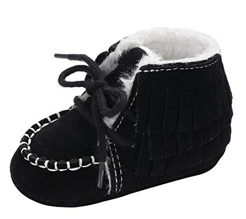 Y-BOA Chaussure Chausson Bottines De Neige Fourrure Boots Ski Infantile Bébé Fille Garçon Toddler Noir Size3