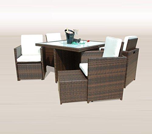 Ragnarök-Möbeldesign PolyRattan - DEUTSCHE Marke - EIGNENE Produktion - 8 Jahre GARANTIE auf UV-Beständigkeit Gartenmöbel Essgruppe Tisch + 4 Stühle & 4 Hocker 12 Polster Braun - 4