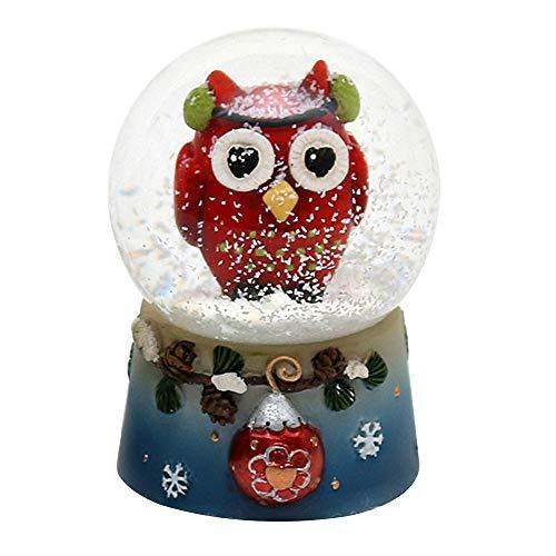 Originale palla di neve con gufo buffo, circa 6,5 x 4,5 cm/ Ø 4,5 cm