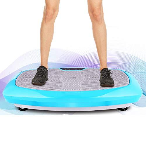 Bunao 3D Fitness mit Vibrationsplatte, Übungsmaterial für Zuhause, Vibrationsplatte, Gewichtsausgleich inkl. Fernbedienung und Balance-Gurten, Display, Bleu1