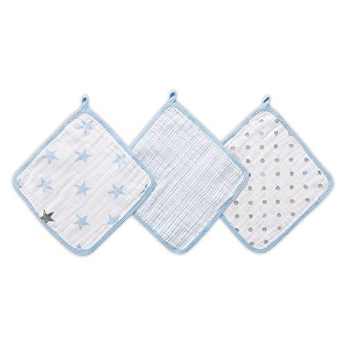 aden by aden + anais débarbouillettes pour la toilette en mousseline 100% coton, dapper 3-pack