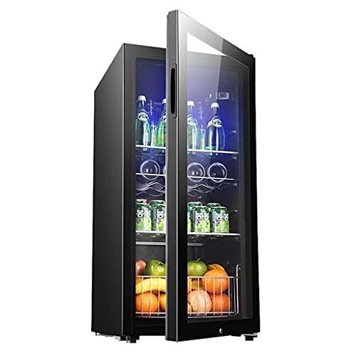 Refrigerador de Vino Independiente, refrigerador de Estante móvil, Bodega de Vino de 165L, Cerveza y Bebidas Barra de Hielo, Puerta de Vidrio Templado con Cerradura