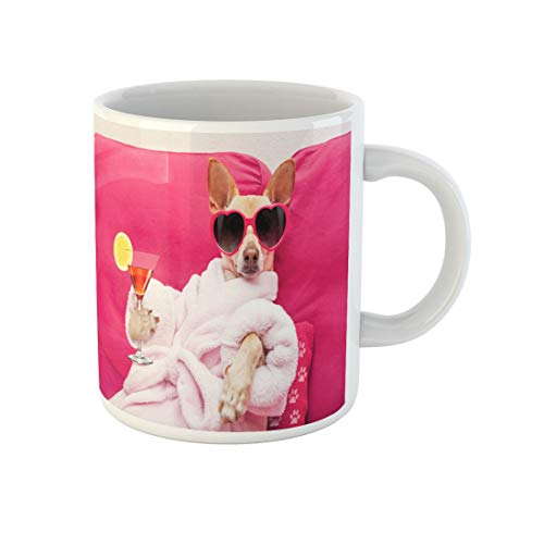 Awowee Coffee Mug Chihuahua Dog Relaxing at Spa Wellness Center Wearing Bathrobe 11 Oz Ceramic Tea Cup Mugs Best Gift Or Souvenir For Family Friends Coworkers