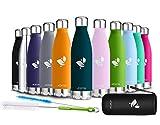 AORIN Vakuum-Isolierte Trinkflasche aus Hochwertigem Edelstahl - 24 Std Kühlen & 12 Std Warmhalten Pulverlackierung Kratzfestigkeit Leicht zu reinigen. (500ml, Dunkelgrün)