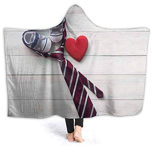 prunushome Original Blanket-Poncho Father S Day Inscription Tie Watch On Wooden Backgroun Best Wearable Blanket Soft Throw Indoors or Outdoors - Adults Men Women Kids, 60W by 50H Inches