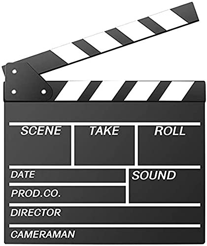 Movie Film Clap Board, Hollywood Clapper Board Wooden Film Movie Clapboard Accessory with Black &...