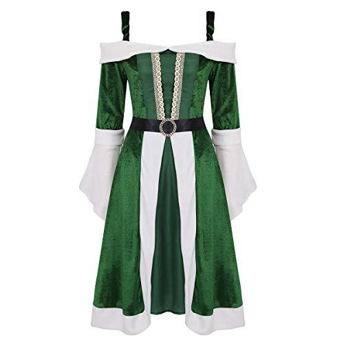 Freebily Vestido Navidad Mujer Largo Terciopelo Invierno Disfraz Mama Noel para Fiesta Navidad Noche Buena Mujer Verde Medium