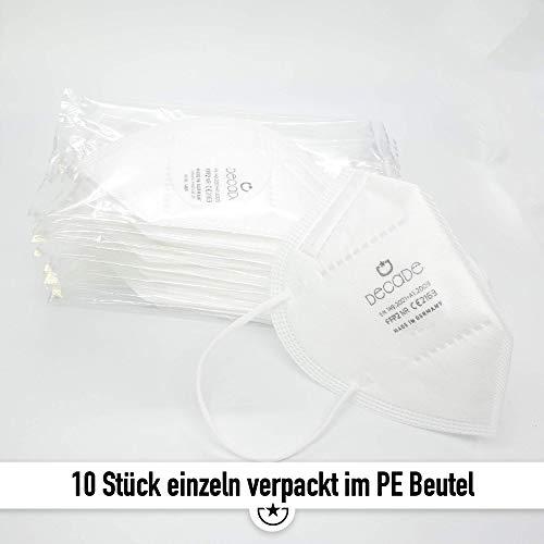 """10x FFP2 Mundschutz Maske – Test: """"SEHR GUT"""" DECADE Maske 4 Lagig – Made in Germany – Mund und Nasenschutz, Einmalmasken EINZELVERPACKT Maske N95 Schutzmaske KN95 - 9"""
