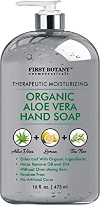 Organic Aloe Vera Hand Soap - Liquid Hand Wash with Organic Tea Tree Oil & Organic Lemon Oil- Multipurpose Hand Cleansing Gel in Pump Dispenser - Natural Bathroom Soap - 16 fl oz