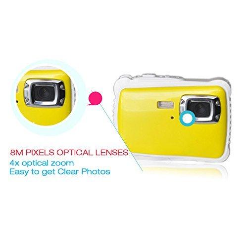Powpro Kfun PP-J52 Underwater Action Camera Waterproof Dustproof Kids Camera Camcorder 5M Pixels (Yellow)