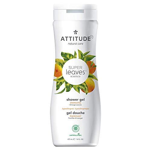 ATTITUDE Natural Moisturizing Body Wash, EWG Safe, Gentle on Sensitive Skin, Hypoallergenic Energizing Shower Gel, Orange Leaves, 16 Fl Oz