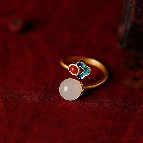 Joyería Hecha a Mano 925 Plata de Ley Antiguo Dorado Natural Hetian Jade Esmalte para Mujer Anillo Abierto