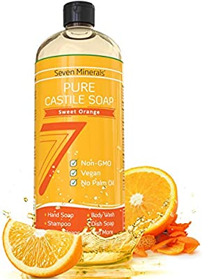 Pure Castile Soap, Sweet Orange - No Palm Oil, GMO-Free - Gentle Liquid Soap For Sensitive Skin & Baby Wash - All Natural Vegan Formula with Organic Carrier Oils (33.8 fl oz)