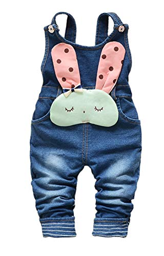KidscoolSpace Baby Toddler Girls Soft Knitted Cotton Denim Cute Cartoon Overalls,Blue,2-3 Years