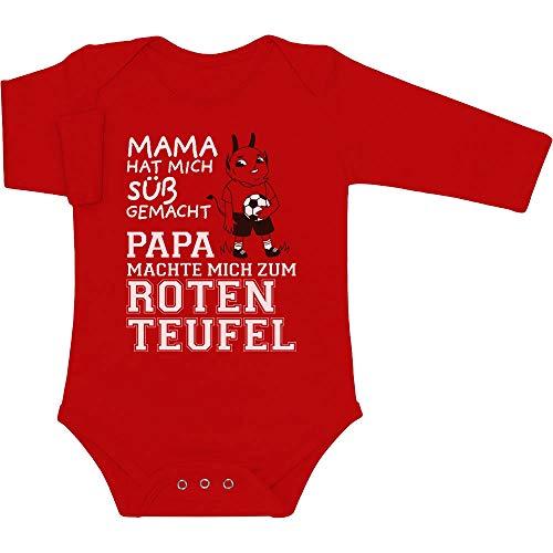Shirtgeil Kaiserslautern - Papa machte Mich zum Roten Teufel Baby Langarm Body 3-6 Monate Rot