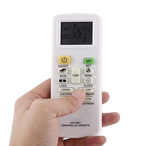 Controlador universal integrado, 13,5 x 5,5 x 1,6 cm integrado con agarre de reloj de uso universal de control remoto ABS de plástico para aire acondicionado universal (blanco)