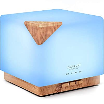 ASAKUKI 700ml Premium, Essential Oil Diffuser, 5 in 1 Ultrasonic Aromatherapy Fragrant Oil Vaporizer Humidifier, Timer and Auto-Off Safety Switch