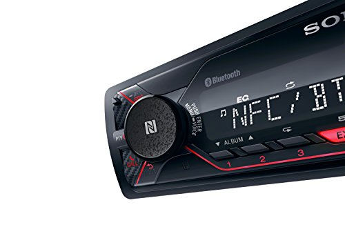 Sony DSX-A410BT - Autoradio multimédia avec technologie Bluetooth Dual (4 x 55 W, Commandes vocales compatible avec Siri Eyes et Android, USB), Noir/Rouge