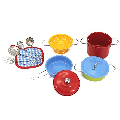KIDAMI 11 Pieces Kitchen Pretend Toys Mini (Fit Little Baby Tiny Hands) , Stainless Steel Cookware Playset, Varieties of Pots Pans, Kids Cooking Utensils (Colorful)
