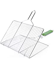 Grilling Basket Non-Stick Barbecue Basket Heavy Duty BBQ Tools Grill Basket for Meats Fish Vegetables Steak