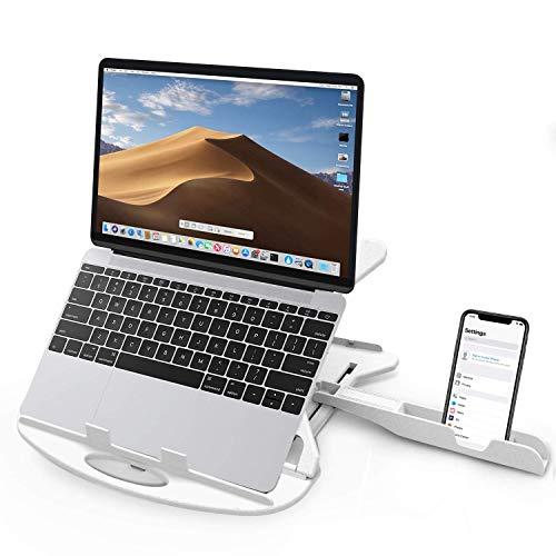 Carnation - Soporte ajustable para portátil con ventilación, portátil, plegable, giratorio, compatible con MacBook, Tablet, bandeja, escritorio, con soporte para teléfono y clip para cable